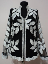V Neck White Snake Pattern Leather Leaf Jacket Womens All Sizes Zipper Short D10 - $150.00
