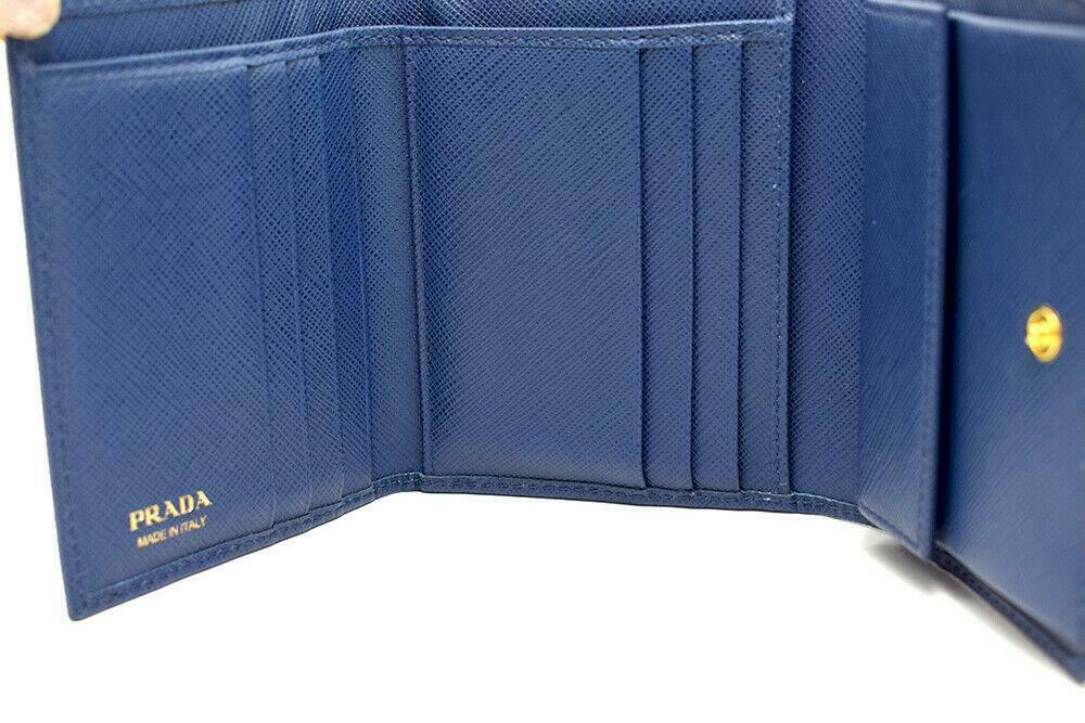 Authentic PRADA Leather Logo Wallet Women Purse Wallet Blue Trifold image 3