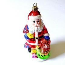 Santa Glass Glitter Christmas Ornament Puppy Presents - $23.89