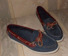 Sebago Womens Docksides Navy Suede with White S... - $17.27