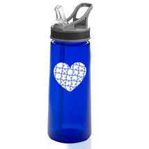 22 oz Sports Water Bottle With Straw Heart Puzzle Autism - $14.99