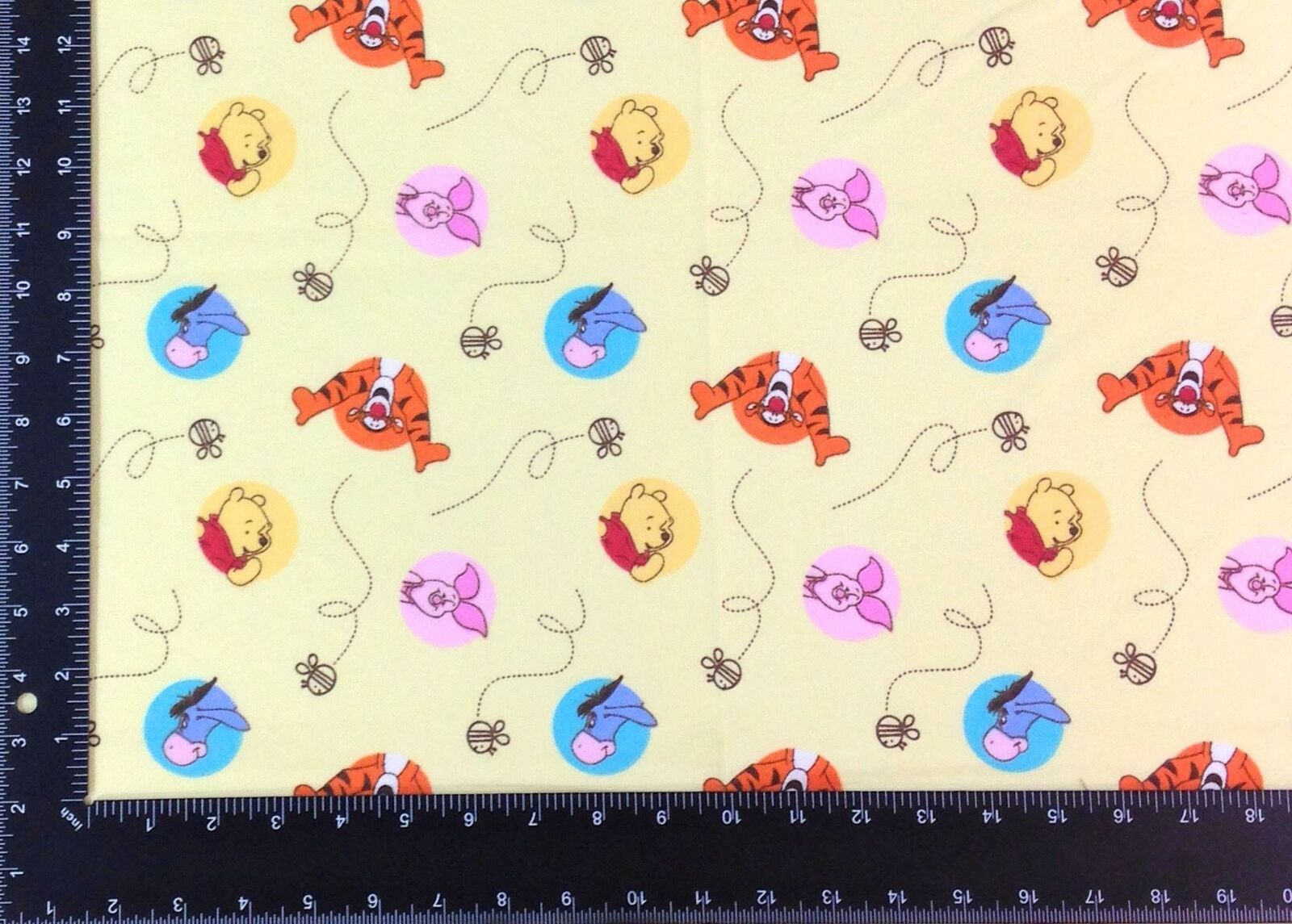 Winnie The Pooh Winceyette 100% Brushed Cotton Fabric Material 3 Sizes