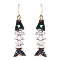 Silver Fish Bone Skeleton Nautical Dangle Earrings For Women Beach Jewel - $14.80