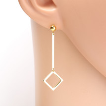 Contemporary Gold Tone Designer Drop Geometric Earrings with Dangling Accent - $16.99