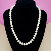 Genuine Natural Baroque Pearl Knotted Necklace Chic White Blush String O... - $19.97