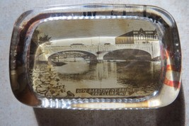 NEW BARSTOW STREET BRIDGE, EAU CLAIRE WIS.GLASS ADVERTISING PAPERWEIGHT ... - $118.75