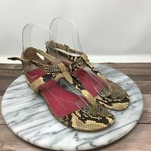 Vintage Kate Spade Beige Snakeskin T-Strap Sandals Womens Size 6 - $49.95
