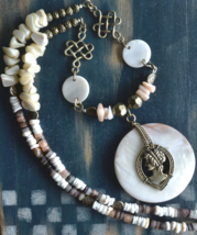 Cameo Necklace, Puka Shell Necklace, Long Necklace, Blister Pearl Shell ... - $33.99