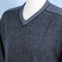 Calvin Klein Mens XXL Lambswool Heathered Blue V Neck Casual Sweater Jumper 2XL - $24.70