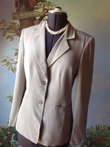 Talbots Beige Striped Long Sleeve Suit Jacket Blazer Size 8 Italian Fabric - $30.69