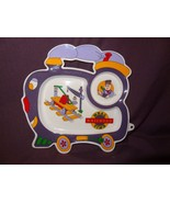 Train Plate Childs Meal Railroad Time Purple Engineer Plastic Oneida 1994 - $14.89