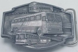 "1985 Siskiyou Pewter Belt Buckle ""Buses Move the World"" EUC - $29.95"