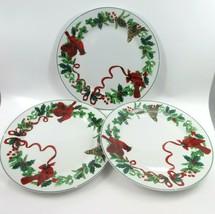 "Set of 3 Royal Norfolk Dinner Plates Cardinal Christmas Red Holly Ribbon 10""  - $30.41"