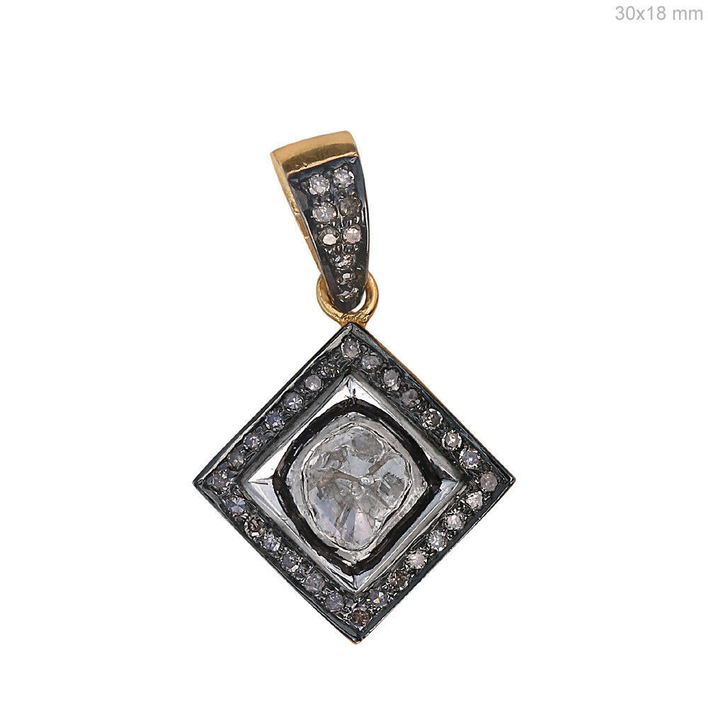 Primary image for .925 Sterling Silver 0.58 Ct Rose Cut Diamond Pave Square Shape Pendant Jewelry