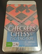 Cardinal Checkers Chess & Tic-Tac-Toe Game Set in Tin - NEW - $12.28
