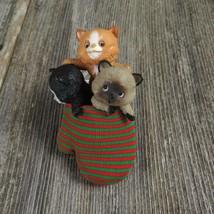 Three Kittens In Mitten Vintage Ornament Hallmark Christmas Cat Kitty 1984 - $34.99