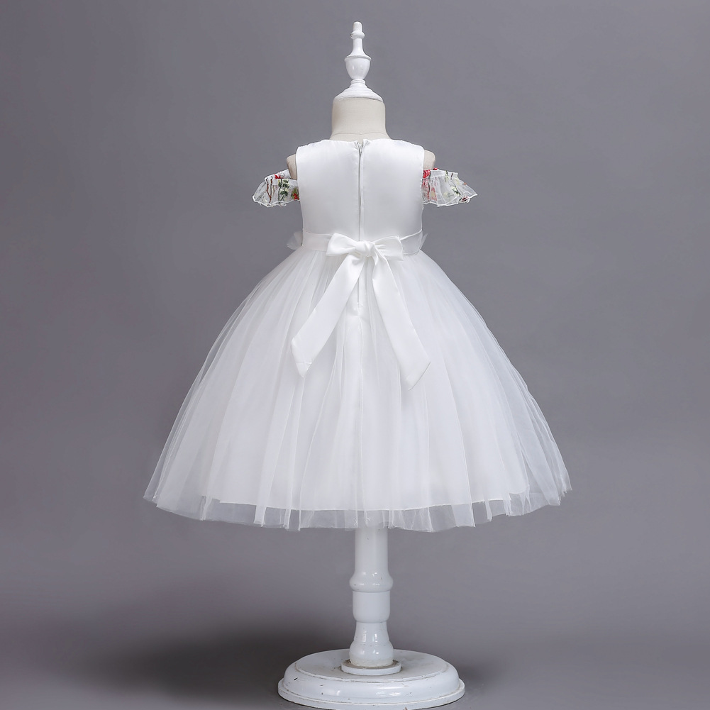 Ball Gowns White Tulle Embroidery Kids Flower Girl Dress Strapless Party Gowns  image 5