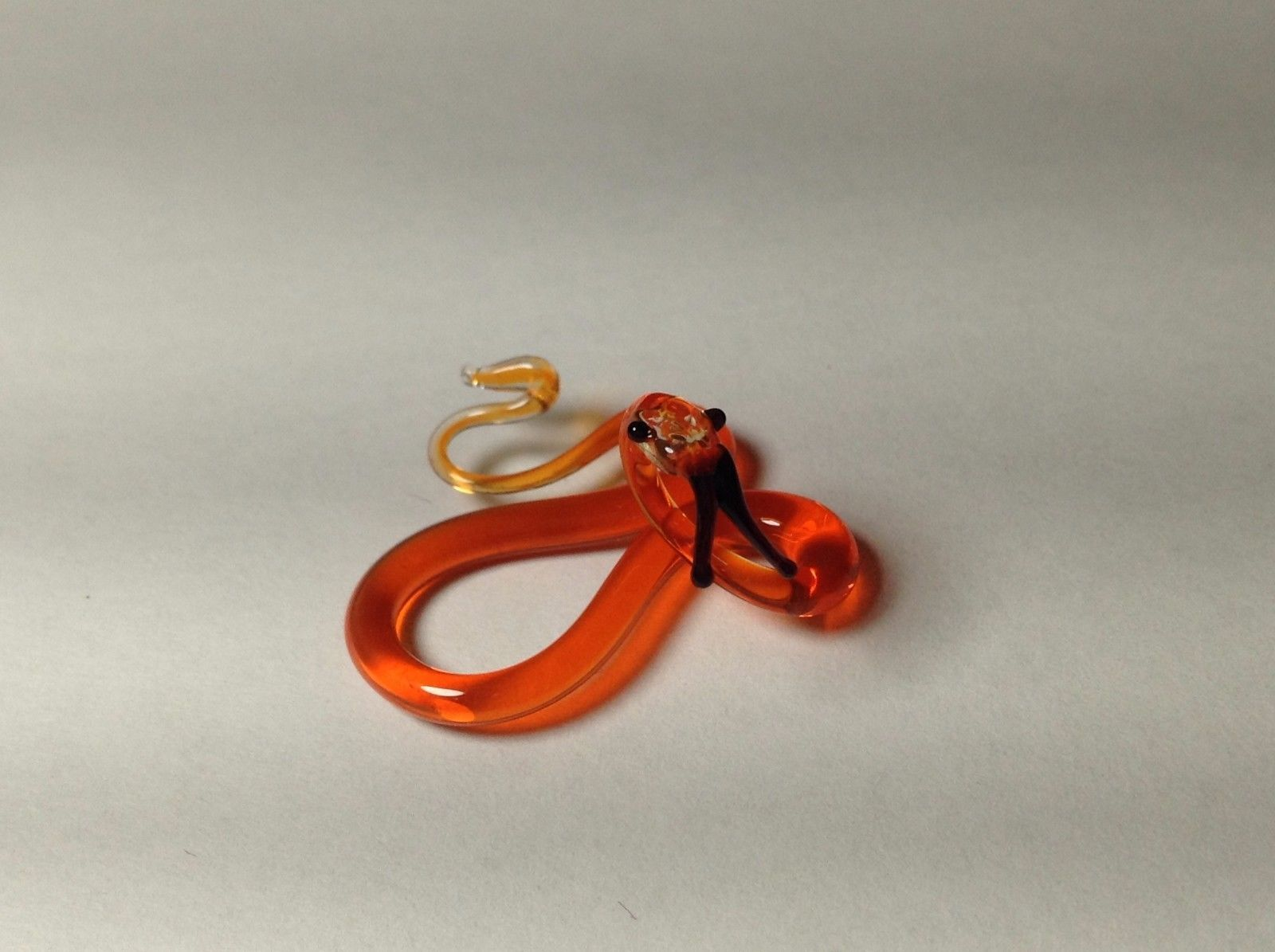 Miniature Glass Red orange snake   Handmade Blown Glass Made USA