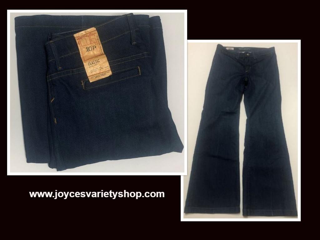 Banana Republic Classic Jeans Sz 10P Stretch Medium Blue Wide Leg