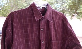 Van Heusen LONG Sleeve Button Front Shirt Men's LARGE 16 16 1/2 MAROON S... - $12.99