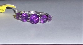 PURPLE AMETHYST FACETED ROUND 5-STONE BAND RING, 925 SILVER, SIZE 6, 2.30(TCW) - $25.00