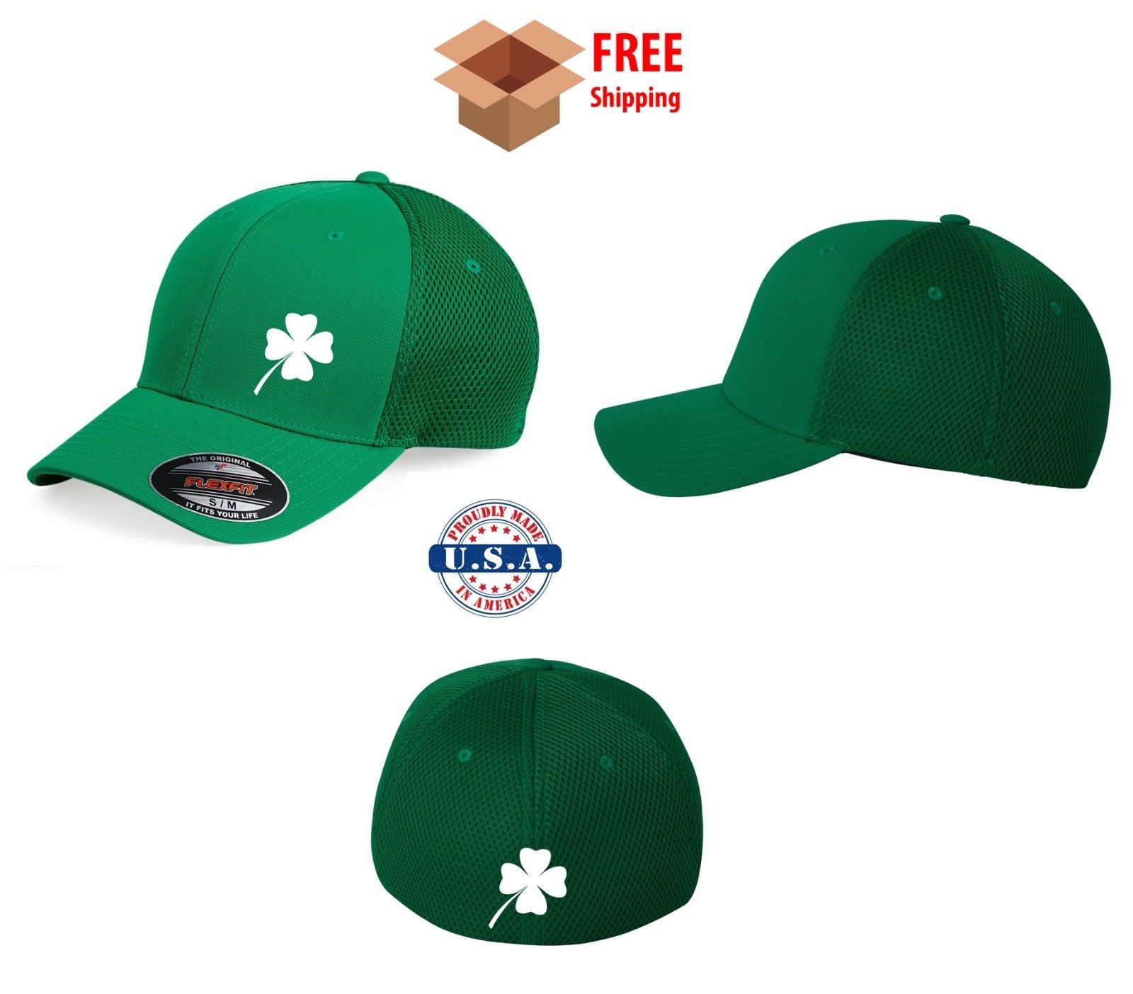 Primary image for KISS ME ST PATRICK'S IRISH Saint Patty's Day Flex Fit HAT *FREE SHIPPING in BOX*