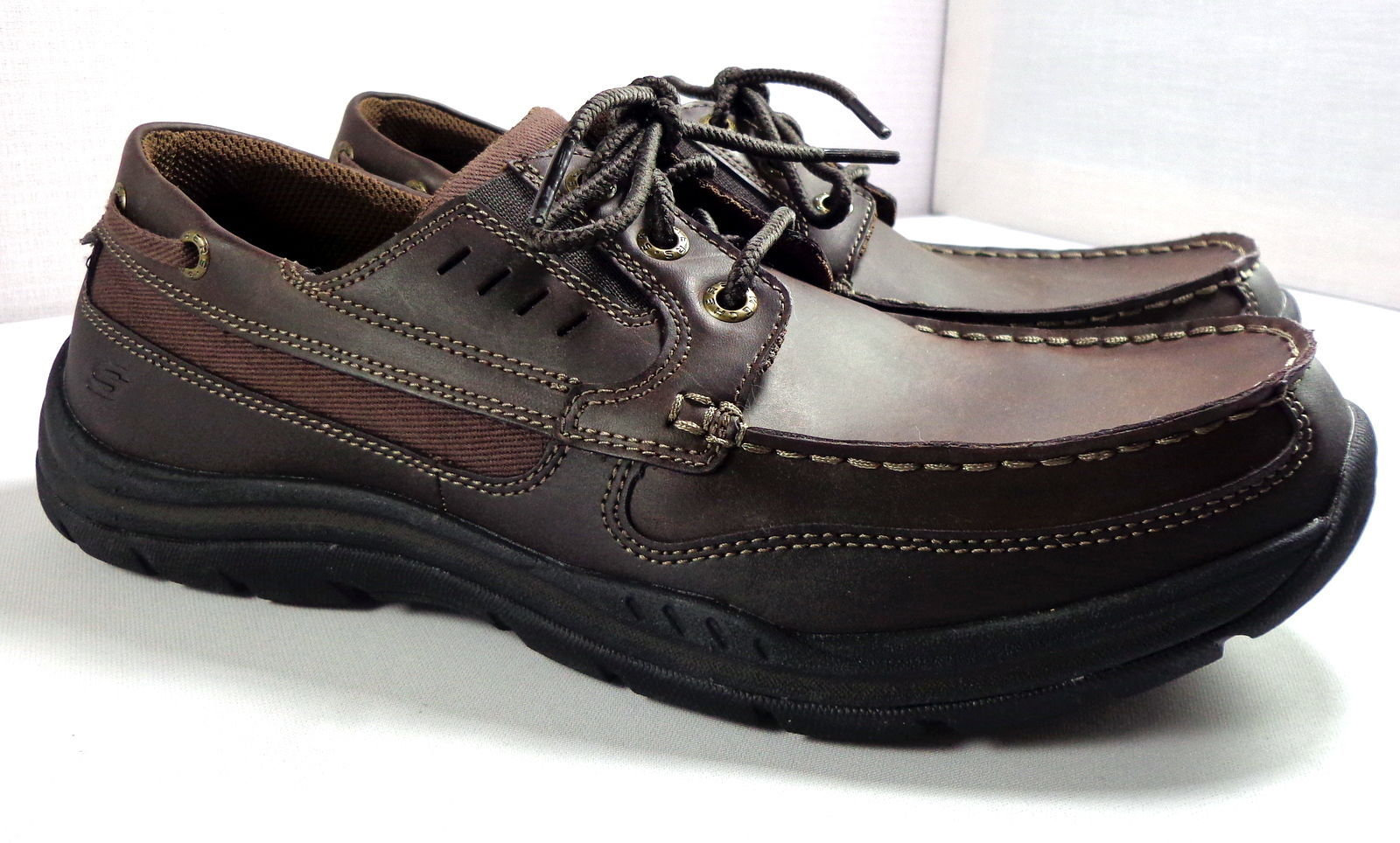 Details about SKECHERS MEN'S SHOES BROWN LEATHER RELAXED FIT MEMORY FOAM OXFORDS LACE UP
