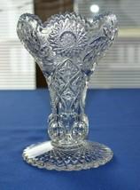 "Pressed Glass Hobstar Paddle Wheel Sawtooth Rim Tulip Vase 6 1/2"" Tall - $9.90"