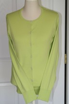 Lands End  Women's LS Supima Crew Cardigan Sweater Lime Breeze New - $29.99