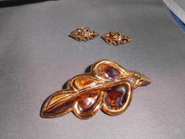 VTG Elizabeth Ariainai? Enamel Porcelain Jewelry Demi Brooch Pin & Earri... - $29.70