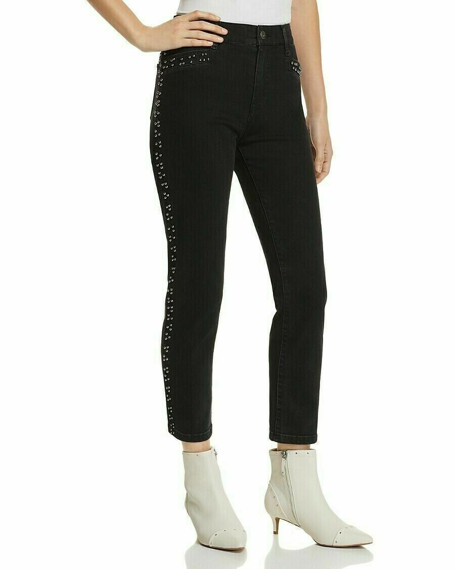 Mwt $198 Pistola Women'S Black High Rise Beaded Denim Straight Leg Jeans Size 25