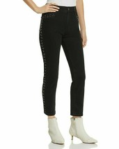 Mwt $198 Pistola Women'S Black High Rise Beaded Denim Straight Leg Jeans Size 25 image 1