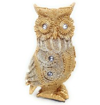 Jeweled Owl Figurine Rhinestone Glitter Gold Color Resin A GSC 54589 - $9.65