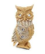 Jeweled Owl Figurine Rhinestone Glitter Gold Color Resin A GSC 54589 - $9.65
