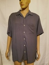 IZOD button Up Shirt 100% Washable Silk Button Up Shirt Solid Blue Short... - $20.57