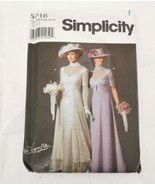 Simplicity Pattern 9716 Sz 6 8 10 12 Edwardian Formal Empire Dress Titan... - $31.99