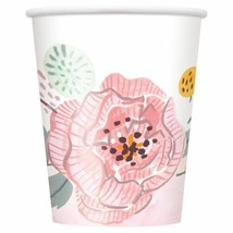 Painted Floral 8 Ct 9 oz Paper Cups Wedding Bridal Shower - $3.26