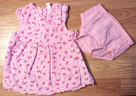 Girl's Size 12 M 9-12 Months Two Piece Pink Floral Ruffled Corduroy Dres... - $17.00