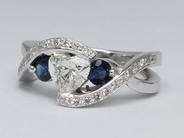Twisted Diamond Engagement Ring, Anniversary Ring, Blue Sapphire Side St... - $2,100.00