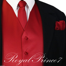 Fire Red Tuxedo Suit Vest Waistcoat and Neck tie Hanky Set Prom Wedding ... - $19.78+