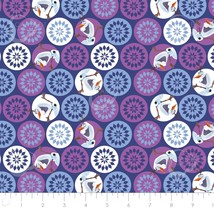 Disney Frozen Olaf and Snowflakes Navy Camelot 100% cotton fabric by the... - $9.79