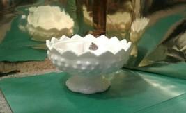 """FENTON vintage Hobnail milk GLASS 6 CANDLE HOLDER pedestal base 6.5"""" - $12.56"""