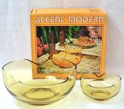 Vintage 1970s Anchor Hocking Honey Gold Glass Chip Dip Set in Original Box - $12.19