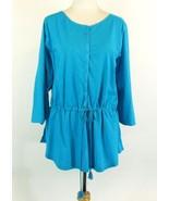 RALPH LAUREN Size 3X New Turquoise Peplum Cotton Knit T-Shirt Top Drawst... - $19.99