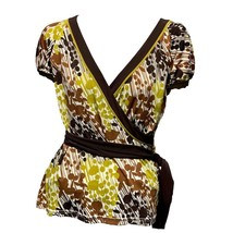 BCBGMaxAzria Womens Brown Green Print V-Neck Short Sleeve Top Sz L - $16.83