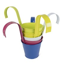 Large Hanging Tin Metal Basket Bucket Planters Pot Assorted Colors Set o... - ₨1,863.27 INR