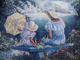 "Yanush Godlewski "" Springtime Afternoon"" Mother & Daughter by lake with ... - $55.43"