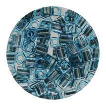 Square Glass Beads Japan 4mm Miyuki Cube Steel Lined Aqua - $6.94