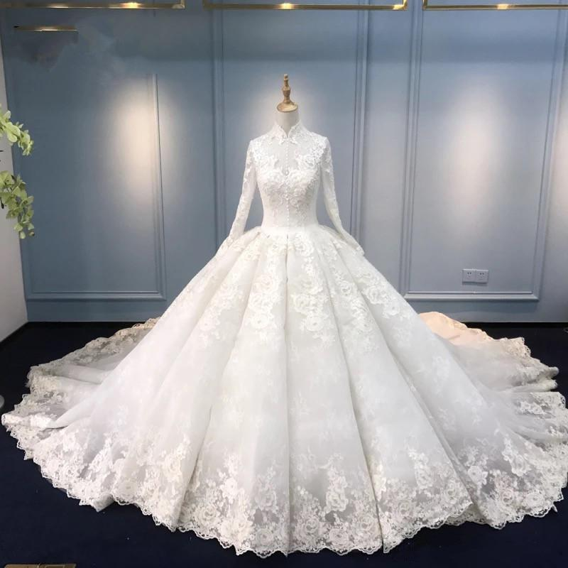 M wedding dresses ball gown high neck long sleeve lace appliques bridal dresses charming wedding