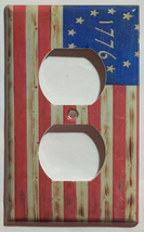 Betsy Ross star 1776 US Flag Wooden Light Switch Duplex Outlet wall Cover Plate  image 2